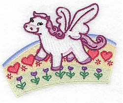 Pegasus On Rainbow embroidery design