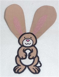 Bunny body and tail double applique embroidery design