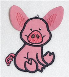 Pig body applique embroidery design