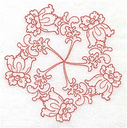 Floral Carousel Redwork embroidery design