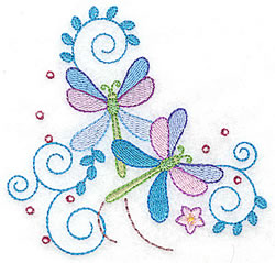 Two Dragonflies embroidery design