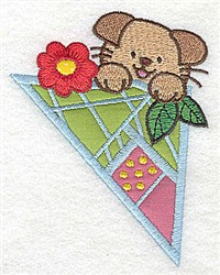 Puppy & Flower Applique embroidery design