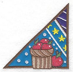 Corner basket of apples  2 appliques embroidery design