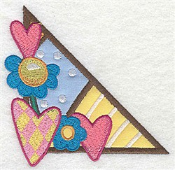 Corner Hearts embroidery design