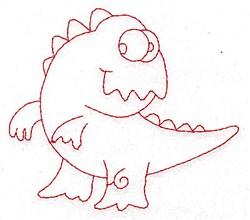 Silly Dinosaur Redwork embroidery design