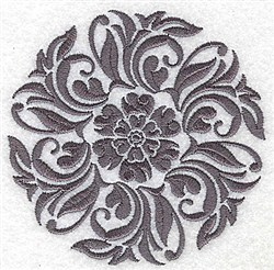 Damask Block Flower embroidery design