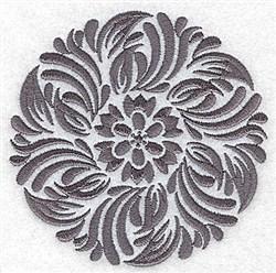 Damask Block Flower embroidery design