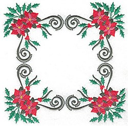 Poinsetta Square embroidery design