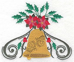 Poinsettia & Holly Bell embroidery design
