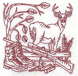 Redwork Buck & Rifle embroidery design