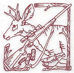 Redwork Deer & Rifle embroidery design