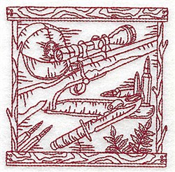 Redwork Rifle & Ammunition embroidery design