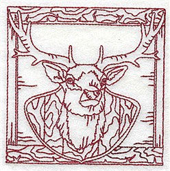 Redwork Mounted Buck embroidery design
