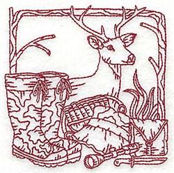 Redwork Deer & Gear embroidery design