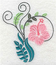 Dainty Hibiscus embroidery design