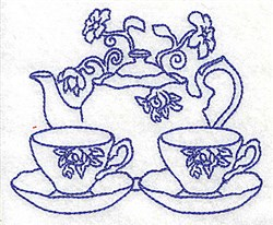 Teapot with Teacups embroidery design