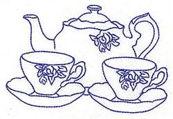 Floral Tea Set embroidery design