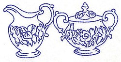 Floral Creamer and Sugar Bowl embroidery design