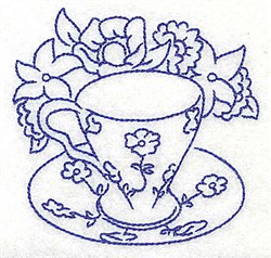 Floral Teacup embroidery design