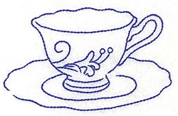 Tea Cup and Saucer embroidery design