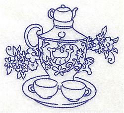 Flowers Tea Set embroidery design