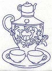 Tea Set Platter embroidery design