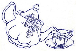 Tea into Cup embroidery design