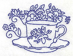 Teacup with Flowers embroidery design