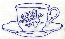 Floral Teacup embroidery design