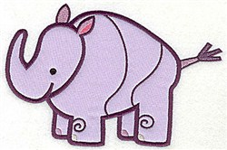 Rhinoceros Applique embroidery design