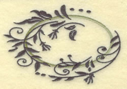 Oval Vine Frame C embroidery design