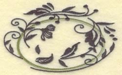 Oval Vine Frame H embroidery design