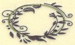 Oval Vine Frame J embroidery design