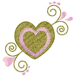 Heart & Swirls embroidery design