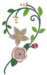 Floral Half Heart embroidery design