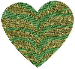 Zebra Striped Heart embroidery design