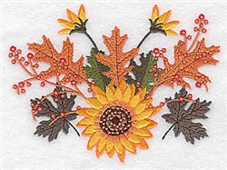 Sunflower & Leaves embroidery design