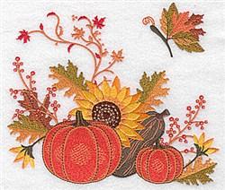 Pumpkins & Sunflower embroidery design