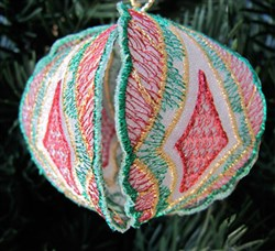 Christmas Ornament Red Green Gold embroidery design