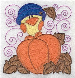 Chick On Pumpkin embroidery design