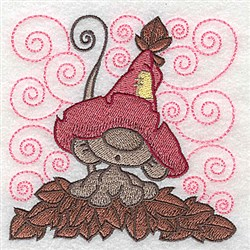 Mouse Amid Leaves embroidery design