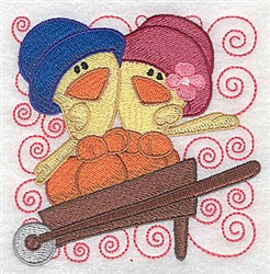 Chicks In A Wheelbarrow embroidery design