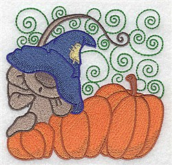 Mouse On Pumpkins embroidery design