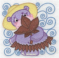 Hippo In Leaf Skirt embroidery design