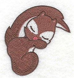Squirrel sleeping embroidery design
