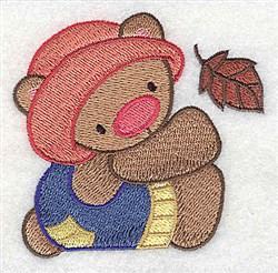 Teddy Bear With Leaf embroidery design