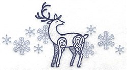 Reindeer Snowflakes embroidery design