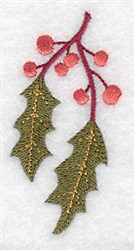Holly Branch embroidery design