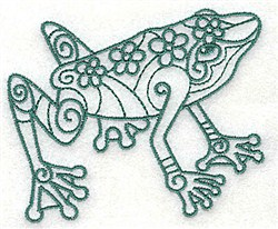 Frog With Flowers embroidery design