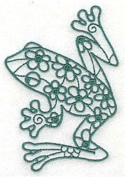 Frog & Flowers embroidery design